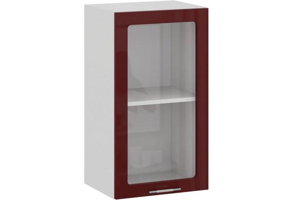 Шкаф навесной c одной дверью со стеклом «Весна» (Белый/Бордо глянец) - фото 1