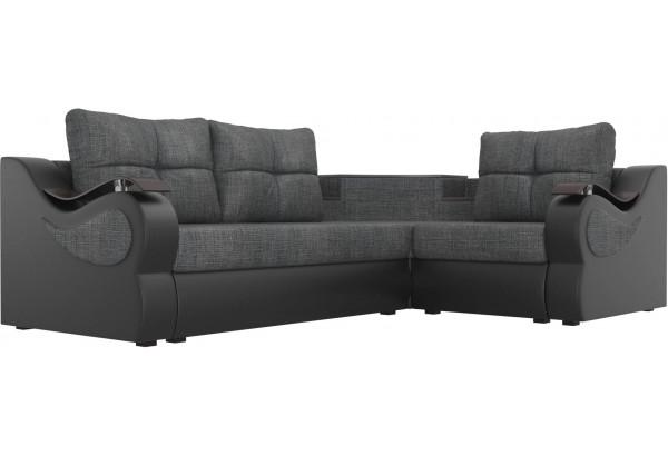 Угловой диван Митчелл Серый/черный (Рогожка/Экокожа) - фото 3