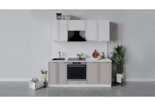 Кухонный гарнитур «Ольга» длиной 200 см со шкафом НБ (Белый/Белый/Кремовый) - фото 1