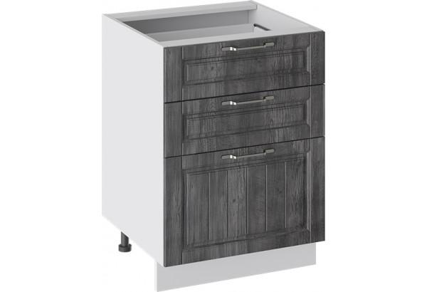 Шкаф напольный с 3-мя ящиками (ПРОВАНС (Белый глянец/Санторини темный)) - фото 1