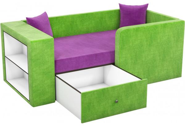 Детский диван Орнелла фиолетовый/зеленый (Микровельвет) - фото 2