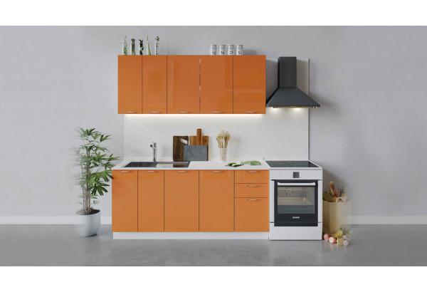 Кухонный гарнитур «Весна» длиной 180 см (Белый/Оранж глянец) - фото 1