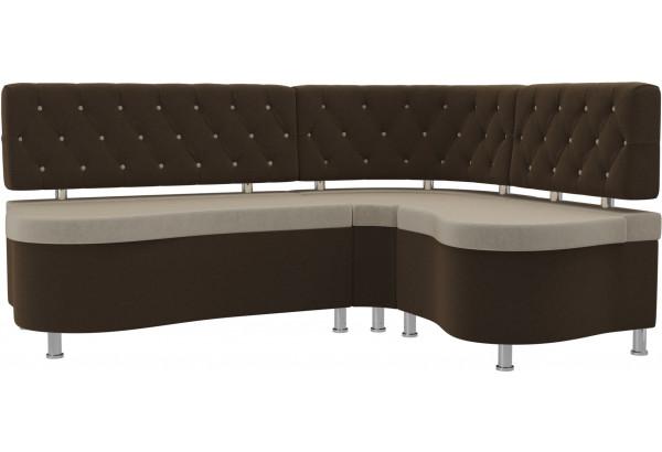 Кухонный угловой диван Вегас бежевый/коричневый (Микровельвет) - фото 1