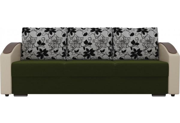 Прямой диван Монако slide Зеленый/Бежевый (Микровельвет/Экокожа/флок на рогожке) - фото 3