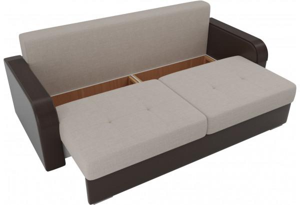 Прямой диван Мейсон бежевый/коричневый (Рогожка/Экокожа) - фото 5