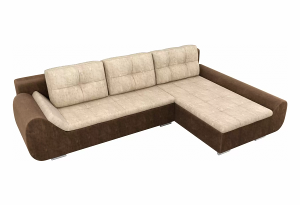 Угловой диван Анталина бежевый/коричневый (Велюр) - фото 4