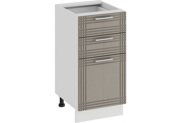 Шкаф напольный с тремя ящиками «Ольга» (Белый/Кремовый) - фото 1