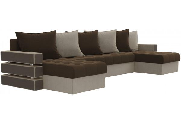 П-образный диван Венеция Коричневый/Бежевый (Микровельвет) - фото 3
