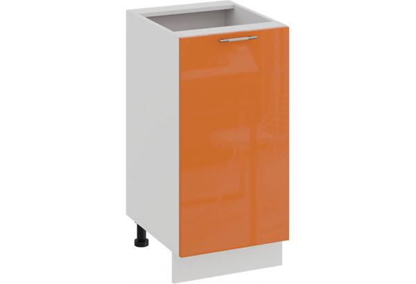 Шкаф напольный с одной дверью «Весна» (Белый/Оранж глянец) - фото 1