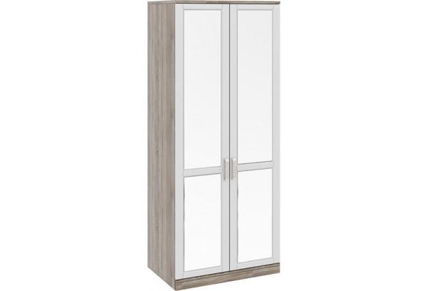 Шкаф для одежды с 2-мя зеркальными дверями «Прованс» Дуб Сонома трюфель/Крем 900x580x2178 - фото 1