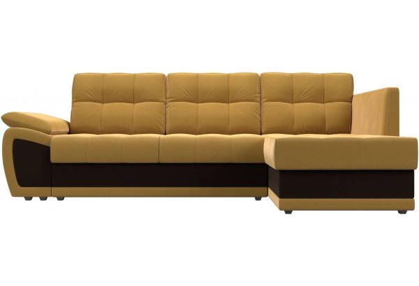 Угловой диван Нэстор прайм Желтый/коричневый (Микровельвет) - фото 2