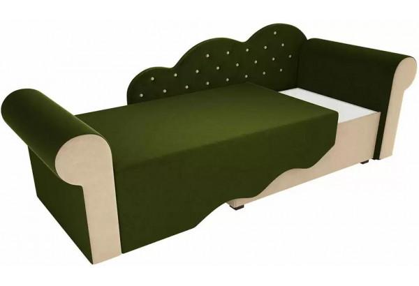 Детская кровать Тедди-2 Зеленый/Бежевый (Микровельвет) - фото 2