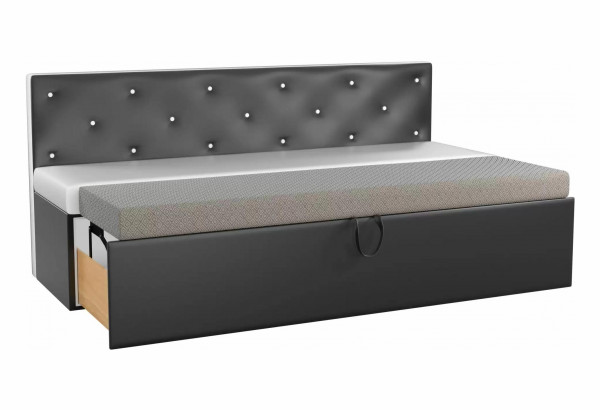 Кухонный прямой диван Салвадор Белый/Черный (Экокожа) - фото 2