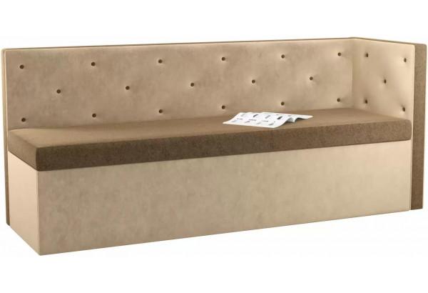 Кухонный диван Салвадор с углом Коричневый/Бежевый (Микровельвет) - фото 1