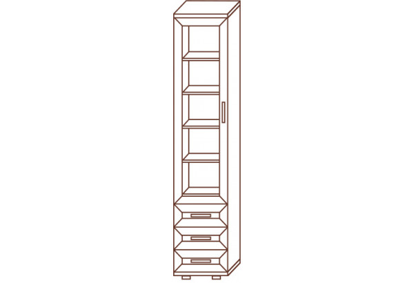 Пенал с 3-мя ящиками/стеклянная дверь №112 - фото 2