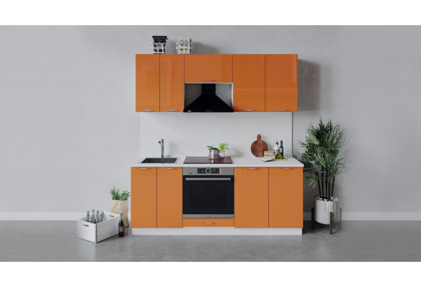 Кухонный гарнитур «Весна» длиной 200 см со шкафом НБ (Белый/Оранж глянец) - фото 1