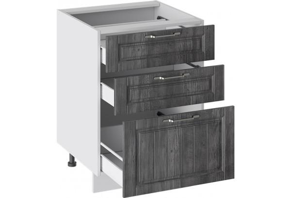 Шкаф напольный с 3-мя ящиками (ПРОВАНС (Белый глянец/Санторини темный)) - фото 2