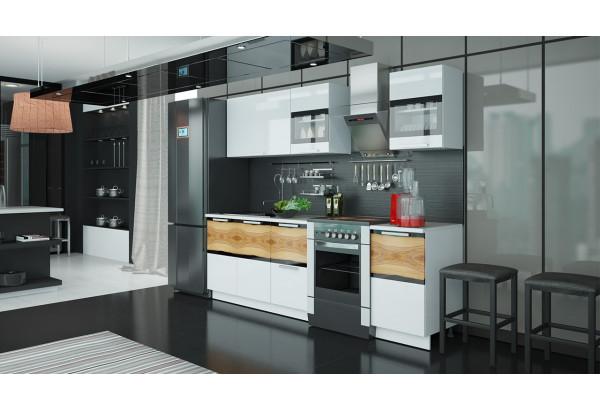 Кухонный гарнитур длиной - 240 см Фэнтези (Белый универс)/(Вуд) - фото 2