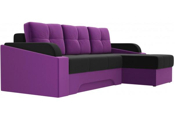 Угловой диван Панда черный/фиолетовый (Микровельвет) - фото 3