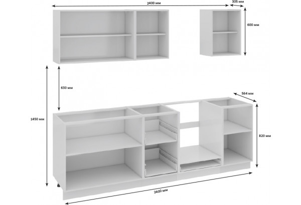 Кухонный гарнитур длиной - 240 см (со шкафом НБ) Фэнтези (Белый универс)/(Грасс) - фото 3
