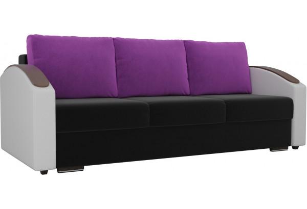 Прямой диван Монако slide Черный/Белый (Микровельвет/Экокожа) - фото 1