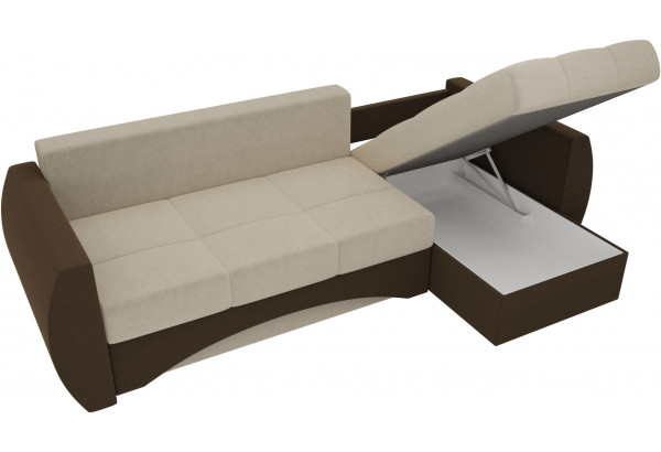 Угловой диван Сатурн бежевый/коричневый (Микровельвет) - фото 5