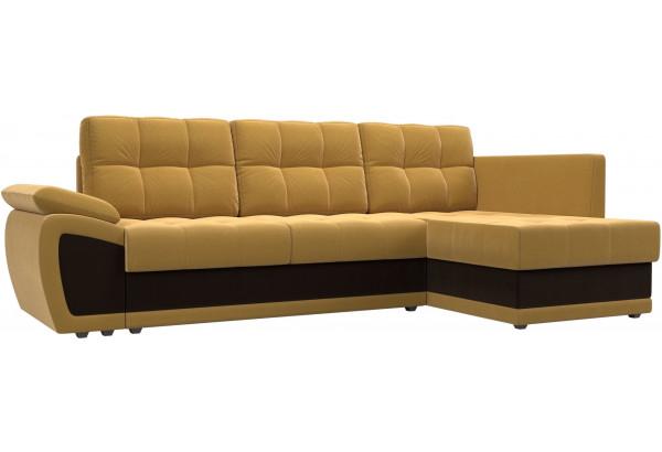 Угловой диван Нэстор прайм Желтый/коричневый (Микровельвет) - фото 1
