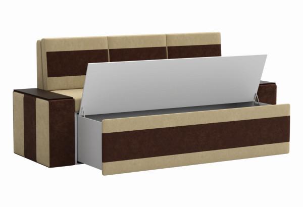 Кухонный прямой диван Лина бежевый/коричневый (Микровельвет) - фото 2