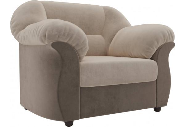 Кресло Карнелла бежевый/коричневый (Велюр) - фото 1