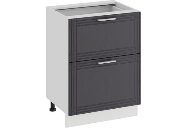Шкаф напольный с двумя ящиками «Ольга» (Белый/Графит) - фото 1