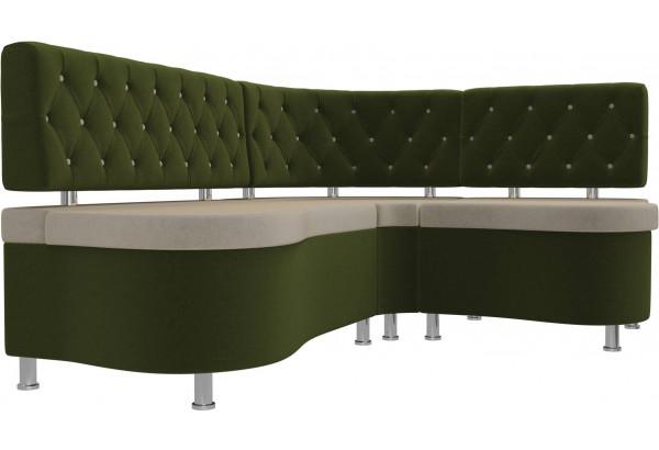 Кухонный угловой диван Вегас бежевый/зеленый (Микровельвет) - фото 3