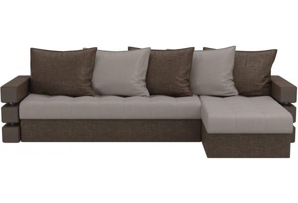 Угловой диван Венеция бежевый/коричневый (Рогожка) - фото 2