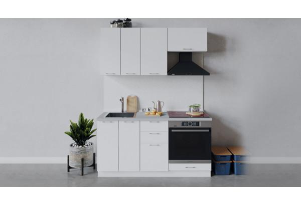 Кухонный гарнитур «Весна» длиной 160 см со шкафом НБ (Белый/Белый глянец) - фото 1