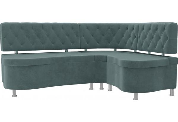 Кухонный угловой диван Вегас бирюзовый (Велюр) - фото 1