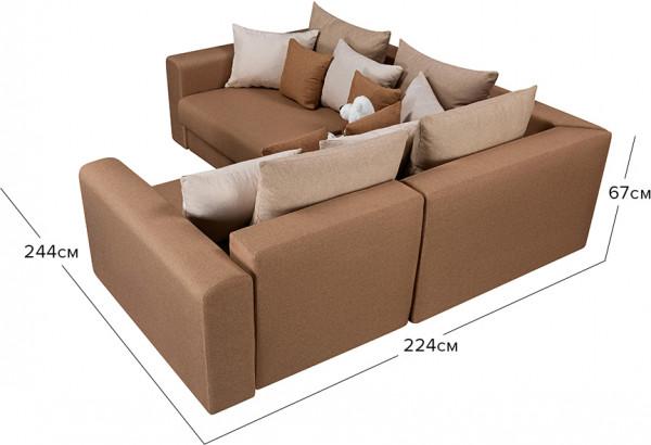 Диван тканевый угловой Медисон Вариант №3 коричневый (Рогожка) - фото 2