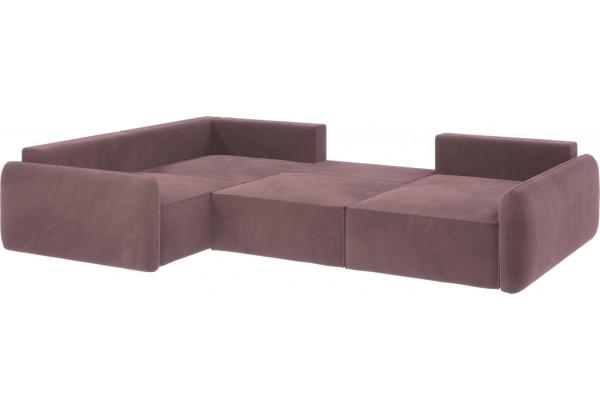 Диван тканевый угловой Портленд вариант №8 розово-серый (Велюр, левый) - фото 3