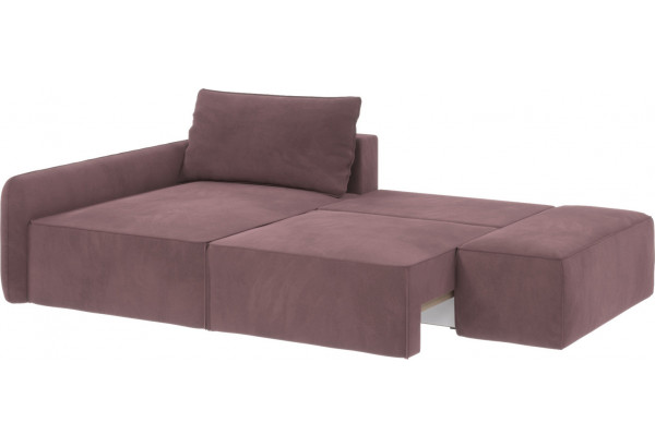 Диван тканевый угловой Портленд вариант №3 розово-серый (Велюр, левый) - фото 2