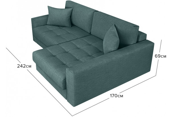 Модульный диван Брайтон вариант №2 голубой (Рогожка) - фото 2