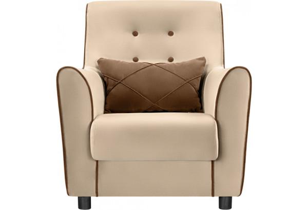 Кресло тканевое Флэтфорд бежевый/коричневый (Велюр) - фото 3