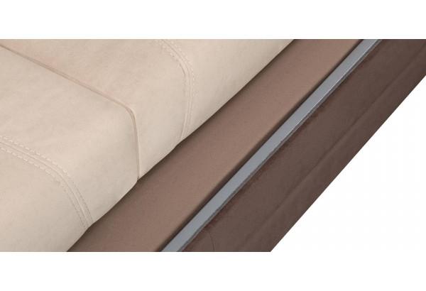 Диван тканевый угловой Бристоль бежевый/темно-коричневый (Велюр, правый) - фото 10