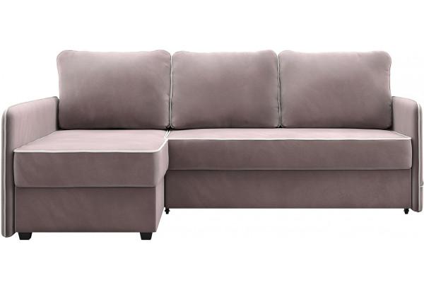 Диван тканевый угловой Слим светло-розовый (Велюр, левый) - фото 2