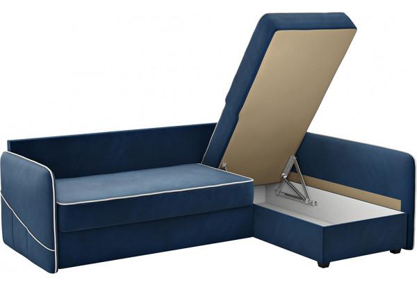 Диван тканевый угловой Слим темно-синий (Велюр, левый) - фото 5