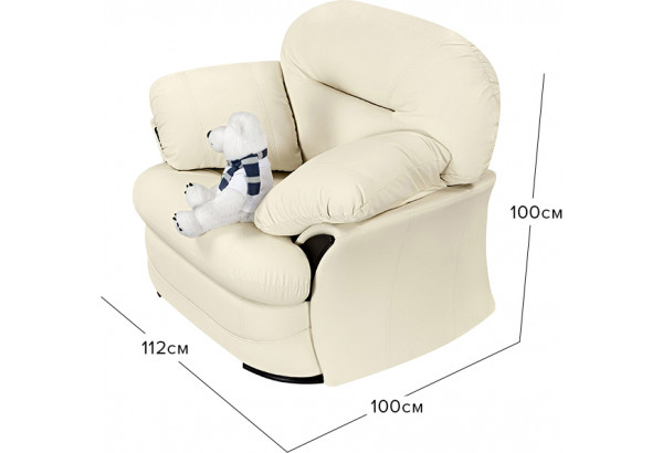 Кресло Ланкастер молочный (Экокожа) - фото 2