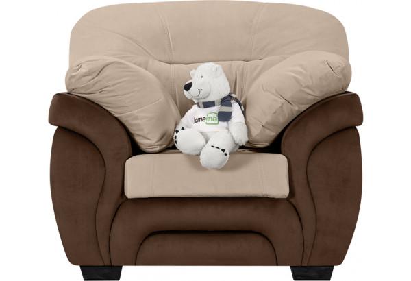 Кресло тканевое Бристоль бежевый/коричневый (Велюр) - фото 2