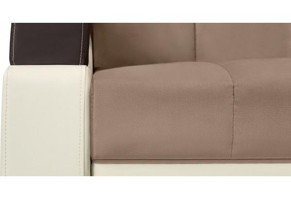 Диван тканевый прямой Мадрид коричневый (Велюр + Экокожа) - фото 8