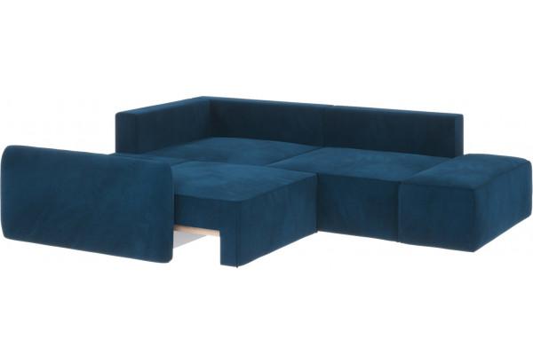 Диван тканевый угловой Портленд вариант №1 светло-синий (Микровелюр, левый) - фото 3