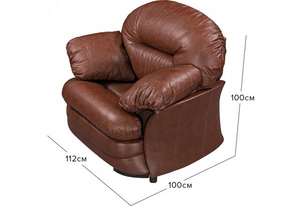 Кресло кожаное Ланкастер Коричневый (Кожаное изделие) - фото 2