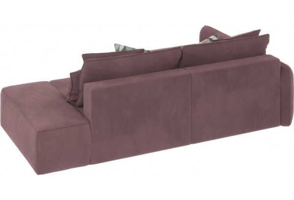 Диван тканевый угловой Портленд вариант №3 розово-серый (Велюр, левый) - фото 3