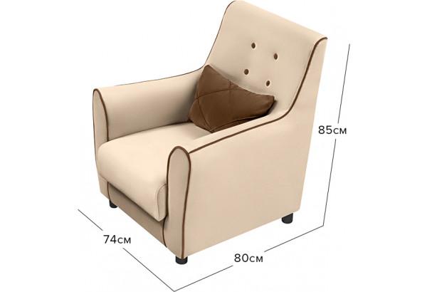 Кресло тканевое Флэтфорд бежевый/коричневый (Велюр) - фото 2