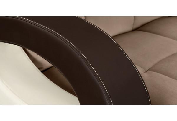 Диван тканевый прямой Мадрид коричневый (Велюр + Экокожа) - фото 9